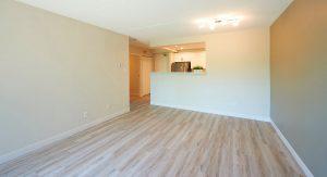 Empty livingroom into kitchen